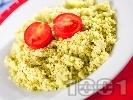 Рецепта Кус кус с Песто от босилек и чери доматчета